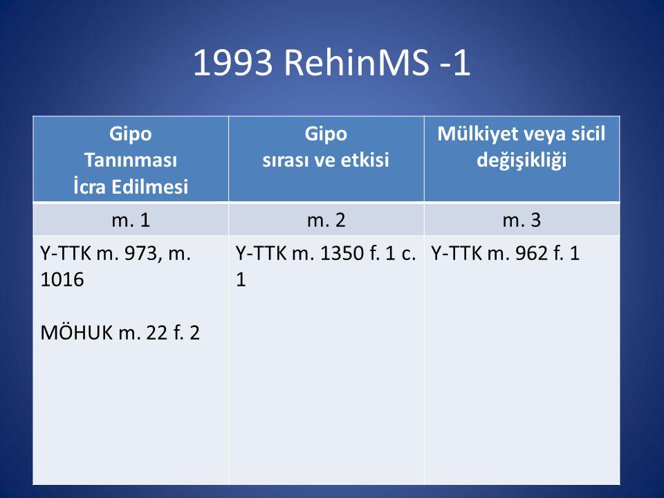 1993 RehinMS -1 Gipo Tanınması İcra Edilmesi Gipo sırası ve etkisi Mülkiyet veya sicil değişikliği m. 1m. 2m. 3 Y-TTK m. 973, m. 1016 MÖHUK m. 22 f. 2