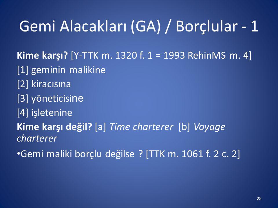 Gemi Alacakları (GA) / Borçlular - 1 Kime karşı? [Y-TTK m. 1320 f. 1 = 1993 RehinMS m. 4] [1] geminin malikine [2] kiracısına [3] yöneticisi ne [4] iş
