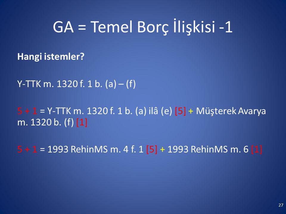 GA = Temel Borç İlişkisi -1 Hangi istemler? Y-TTK m. 1320 f. 1 b. (a) – (f) 5 + 1 = Y-TTK m. 1320 f. 1 b. (a) ilâ (e) [5] + Müşterek Avarya m. 1320 b.
