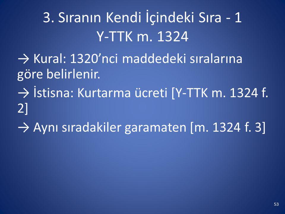 3. Sıranın Kendi İçindeki Sıra - 1 Y-TTK m. 1324 → Kural: 1320'nci maddedeki sıralarına göre belirlenir. → İstisna: Kurtarma ücreti [Y-TTK m. 1324 f.