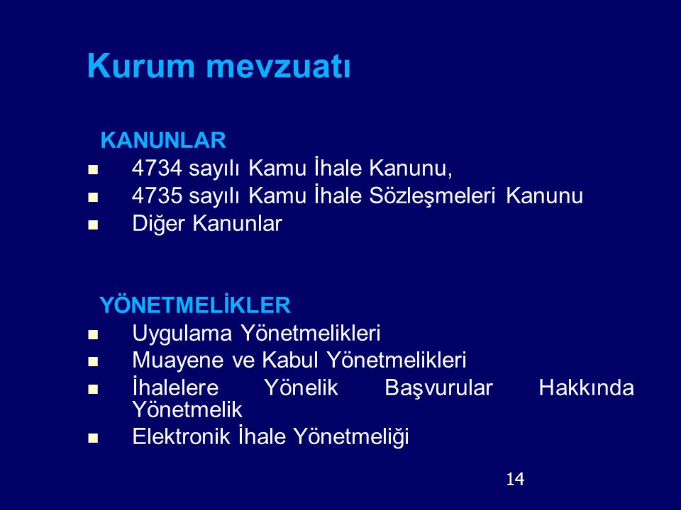 14 Kurum mevzuatı KANUNLAR 4734 sayılı Kamu İhale Kanunu, 4735 sayılı Kamu İhale Sözleşmeleri Kanunu Diğer Kanunlar YÖNETMELİKLER Uygulama Yönetmelikl