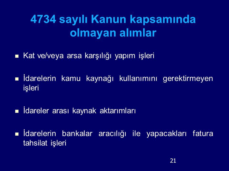 21 4734 sayılı Kanun kapsamında olmayan alımlar Kat ve/veya arsa karşılığı yapım işleri İdarelerin kamu kaynağı kullanımını gerektirmeyen işleri İdare