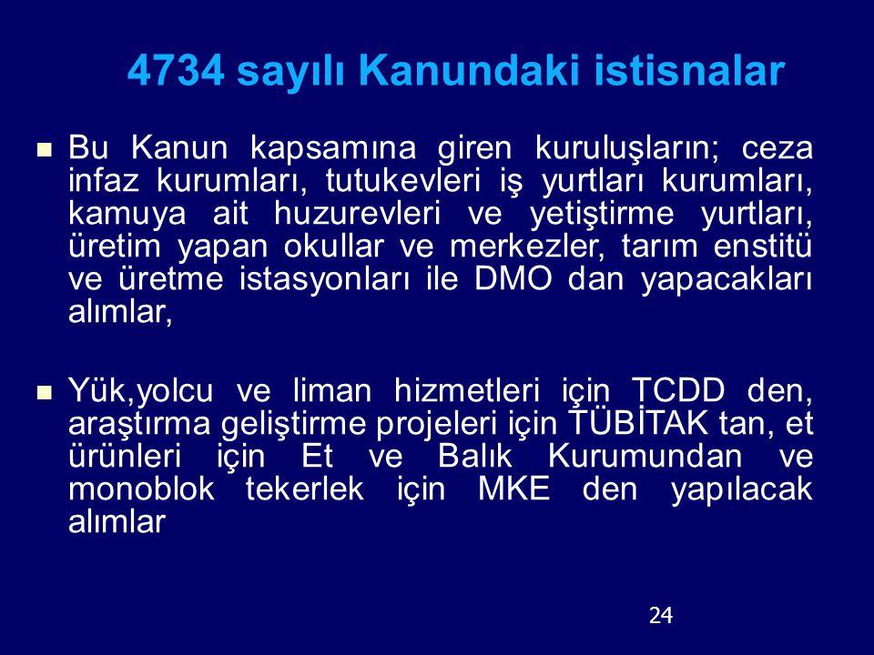 4734 sayılı Kanundaki istisnalar Bu Kanun kapsamına giren kuruluşların; ceza infaz kurumları, tutukevleri iş yurtları kurumları, kamuya ait huzurevler