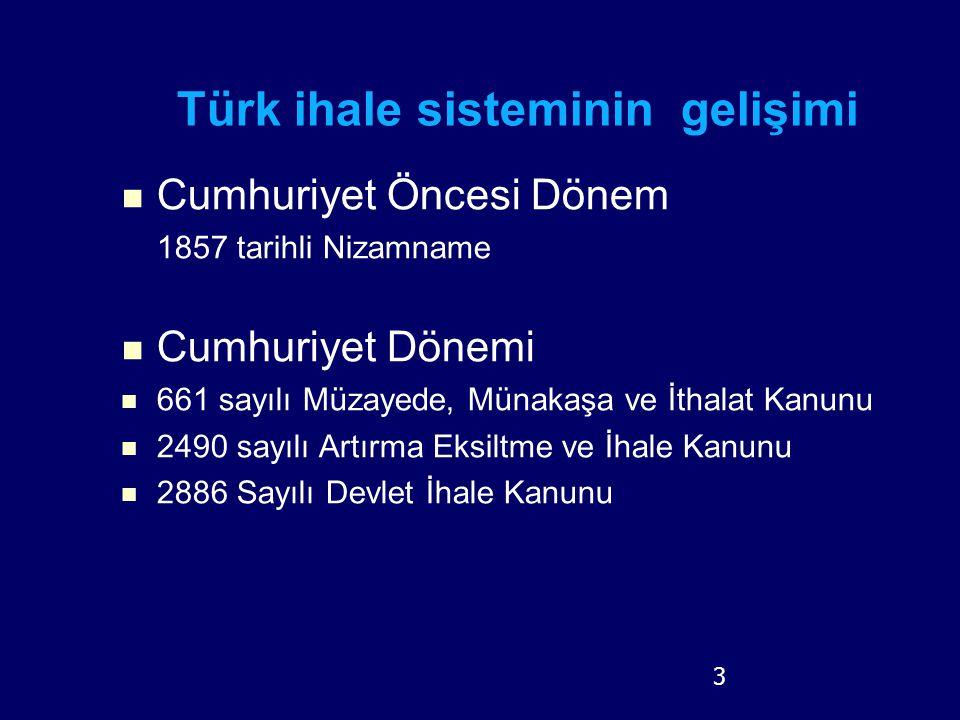 3 Türk ihale sisteminin gelişimi Cumhuriyet Öncesi Dönem 1857 tarihli Nizamname Cumhuriyet Dönemi 661 sayılı Müzayede, Münakaşa ve İthalat Kanunu 2490