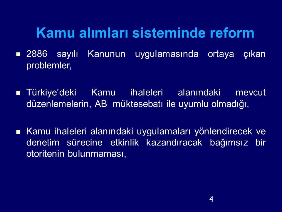 4 2886 sayılı Kanunun uygulamasında ortaya çıkan problemler, Türkiye'deki Kamu ihaleleri alanındaki mevcut düzenlemelerin, AB müktesebatı ile uyumlu o