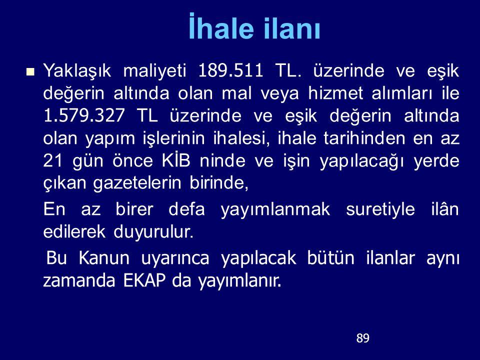 89 İhale ilanı Yaklaşık maliyeti 189.511 TL. üzerinde ve eşik değerin altında olan mal veya hizmet alımları ile 1.579.327 TL üzerinde ve eşik değerin