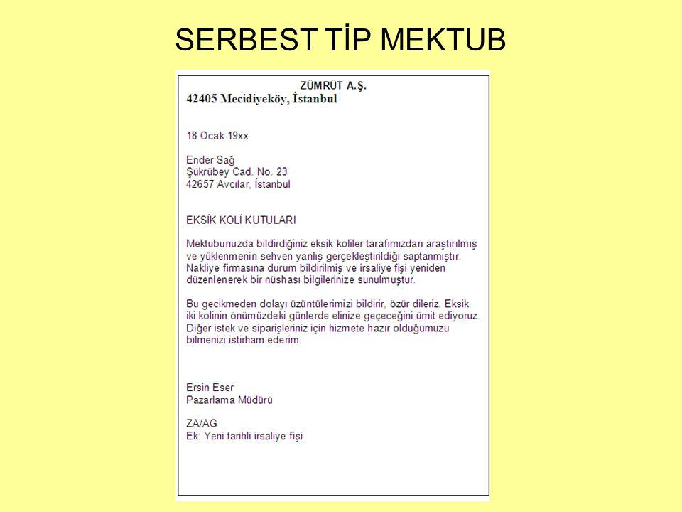 SERBEST TİP MEKTUB
