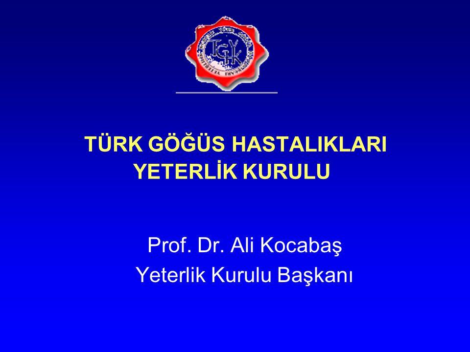 TÜRK GÖĞÜS HASTALIKLARI YETERLİK KURULU Prof. Dr. Ali Kocabaş Yeterlik Kurulu Başkanı