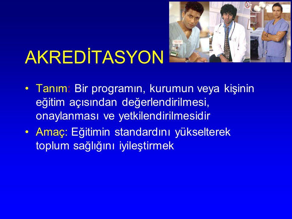 AKREDİTASYON Tanım: Bir programın, kurumun veya kişinin eğitim açısından değerlendirilmesi, onaylanması ve yetkilendirilmesidir Amaç: Eğitimin standar