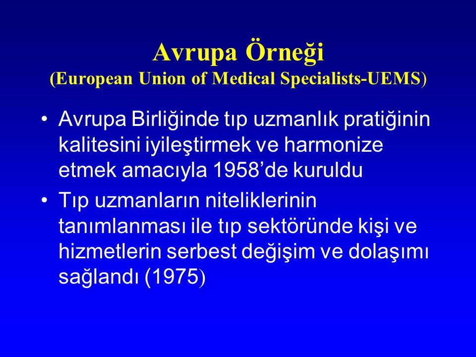 Avrupa Örneği (European Union of Medical Specialists-UEMS) Avrupa Birliğinde tıp uzmanlık pratiğinin kalitesini iyileştirmek ve harmonize etmek amacıy