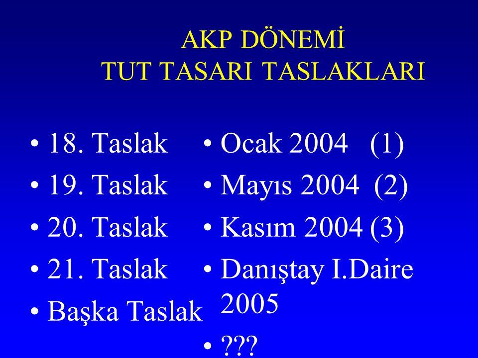 AKP DÖNEMİ TUT TASARI TASLAKLARI 18. Taslak 19. Taslak 20. Taslak 21. Taslak Başka Taslak Ocak 2004 (1) Mayıs 2004 (2) Kasım 2004 (3) Danıştay I.Daire