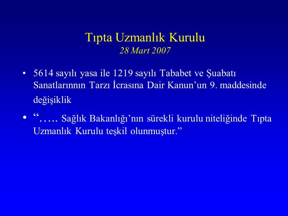 Tıpta Uzmanlık Kurulu 28 Mart 2007 5614 sayılı yasa ile 1219 sayılı Tababet ve Şuabatı Sanatlarınnın Tarzı İcrasına Dair Kanun'un 9. maddesinde değişi