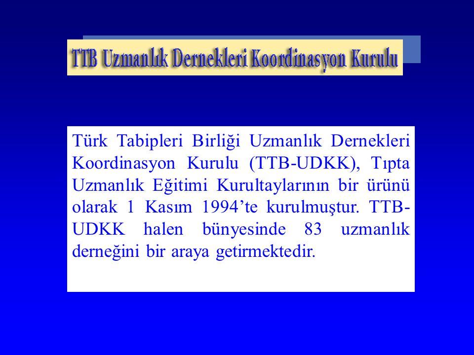 Türk Tabipleri Birliği Uzmanlık Dernekleri Koordinasyon Kurulu (TTB-UDKK), Tıpta Uzmanlık Eğitimi Kurultaylarının bir ürünü olarak 1 Kasım 1994'te kur