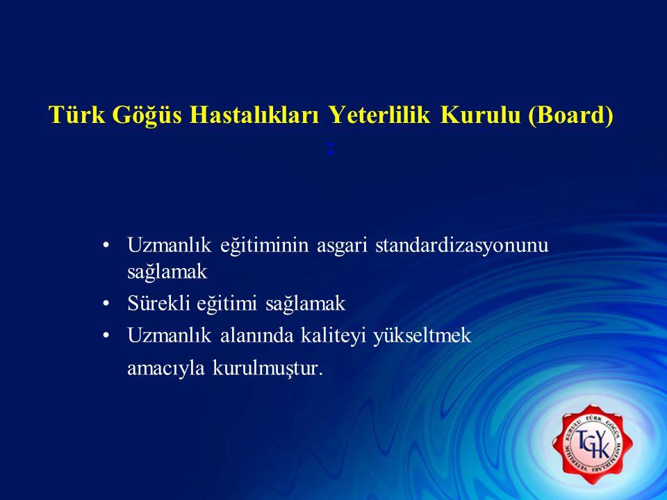 Türk Göğüs Hastalıkları Yeterlilik Kurulu (Board) : Uzmanlık eğitiminin asgari standardizasyonunu sağlamak Sürekli eğitimi sağlamak Uzmanlık alanında