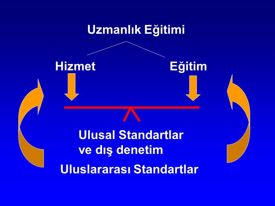 Uzmanlık Eğitimi Hizmet Eğitim Ulusal Standartlar ve dış denetim Uluslararası Standartlar