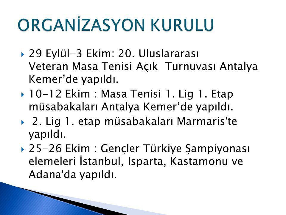  29 Eylül-3 Ekim: 20. Uluslararası Veteran Masa Tenisi Açık Turnuvası Antalya Kemer'de yapıldı.