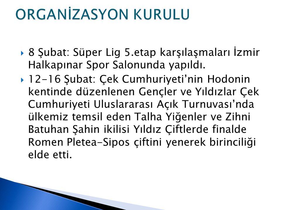  8 Şubat: Süper Lig 5.etap karşılaşmaları İzmir Halkapınar Spor Salonunda yapıldı.