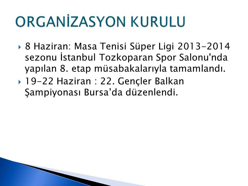  8 Haziran: Masa Tenisi Süper Ligi 2013-2014 sezonu İstanbul Tozkoparan Spor Salonu nda yapılan 8.