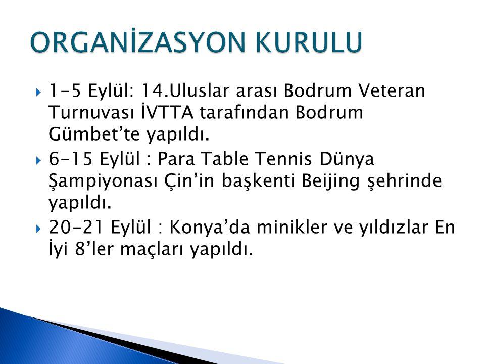  1-5 Eylül: 14.Uluslar arası Bodrum Veteran Turnuvası İVTTA tarafından Bodrum Gümbet'te yapıldı.