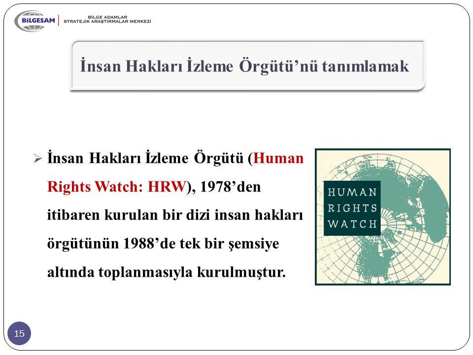15  İnsan Hakları İzleme Örgütü (Human Rights Watch: HRW), 1978'den itibaren kurulan bir dizi insan hakları örgütünün 1988'de tek bir şemsiye altında
