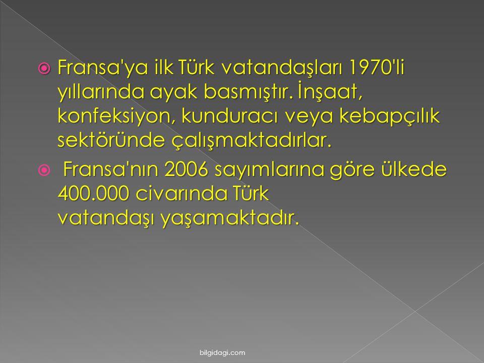  Fransa'ya ilk Türk vatandaşları 1970'li yıllarında ayak basmıştır. İnşaat, konfeksiyon, kunduracı veya kebapçılık sektöründe çalışmaktadırlar. Frans