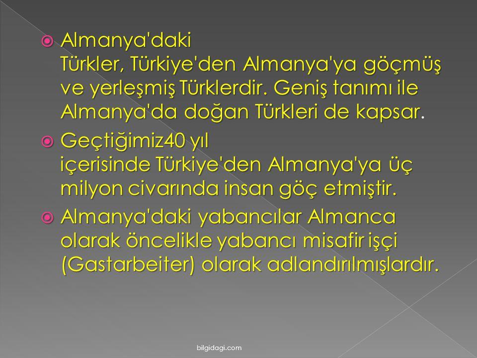 AAAAlmanya'daki Türkler, Türkiye'den Almanya'ya göçmüş ve yerleşmiş Türklerdir. Geniş tanımı ile Almanya'da doğan Türkleri de kapsar. GGGGeçti