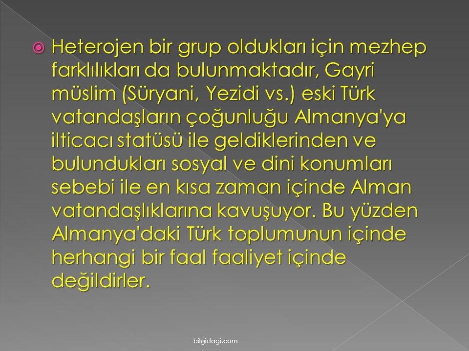  Heterojen bir grup olduklarι için mezhep farklılıkları da bulunmaktadır, Gayri müslim (Süryani, Yezidi vs.) eski Türk vatandaşların çoğunluğu Almany