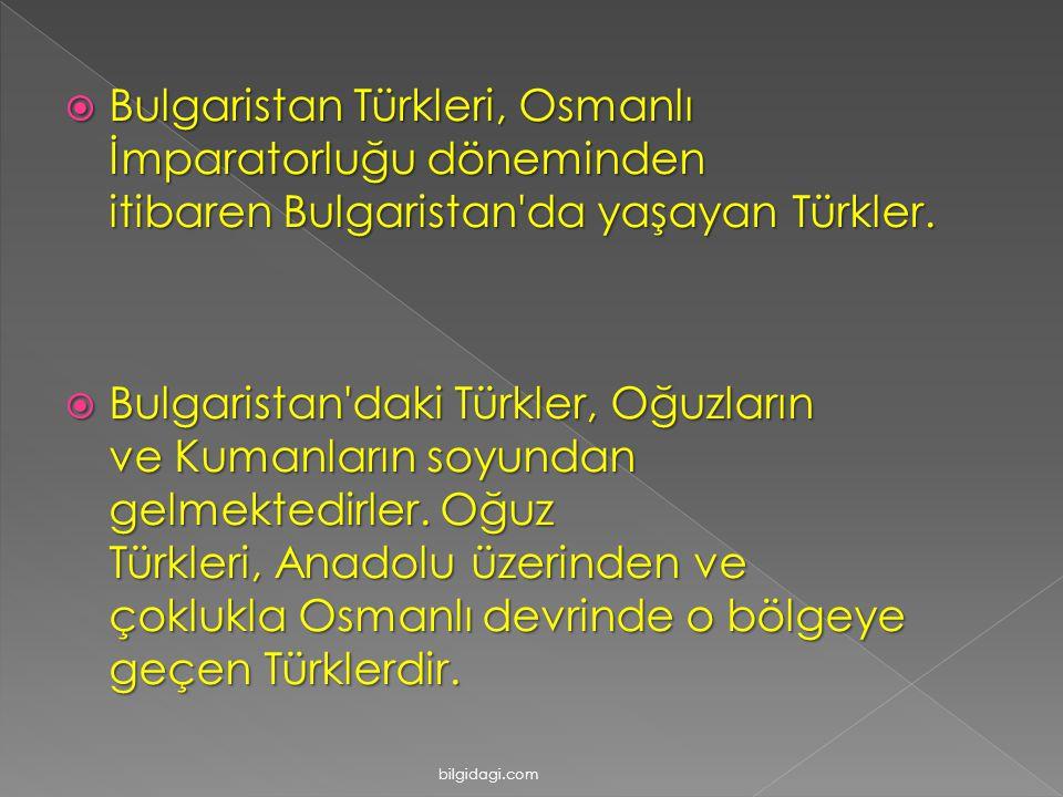  Bulgaristan Türkleri, Osmanlı İmparatorluğu döneminden itibaren Bulgaristan'da yaşayan Türkler.  Bulgaristan'daki Türkler, Oğuzların ve Kumanların