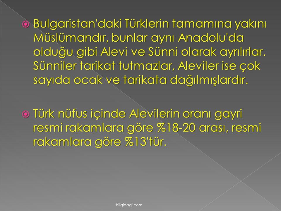  Bulgaristan'daki Türklerin tamamına yakını Müslümandır, bunlar aynı Anadolu'da olduğu gibi Alevi ve Sünni olarak ayrılırlar. Sünniler tarikat tutmaz