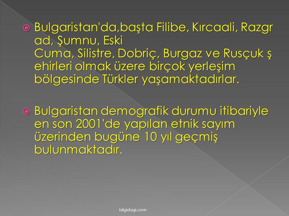 BBBBulgaristan da,başta Filibe, Kırcaali, Razgr ad, Şumnu, Eski Cuma, Silistre, Dobriç, Burgaz ve Rusçuk ş ehirleri olmak üzere birçok yerleşim bölgesinde Türkler yaşamaktadırlar.