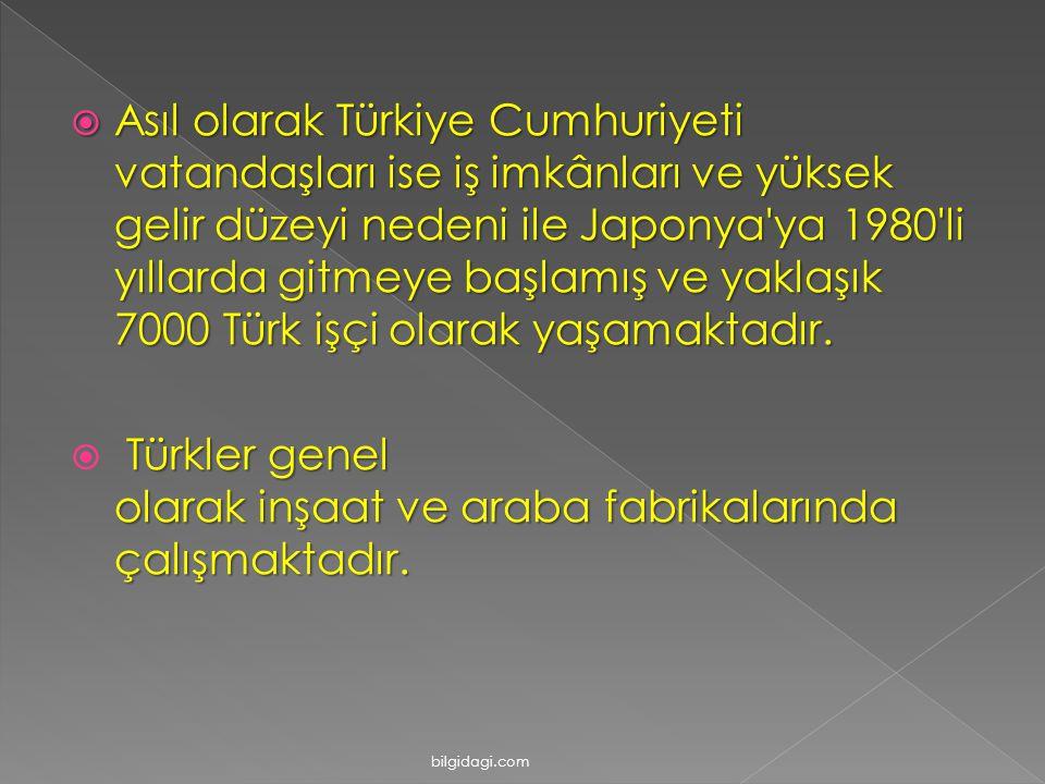  Asıl olarak Türkiye Cumhuriyeti vatandaşları ise iş imkânları ve yüksek gelir düzeyi nedeni ile Japonya ya 1980 li yıllarda gitmeye başlamış ve yaklaşık 7000 Türk işçi olarak yaşamaktadır.