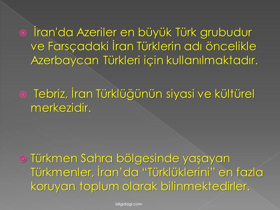  İran'da Azeriler en büyük Türk grubudur ve Farsçadaki İran Türklerin adı öncelikle Azerbaycan Türkleri için kullanılmaktadır.  Tebriz, İran Türklüğ