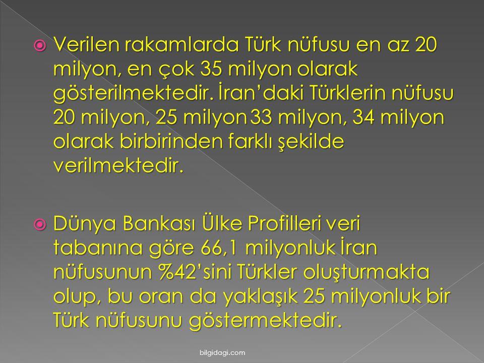 VVVVerilen rakamlarda Türk nüfusu en az 20 milyon, en çok 35 milyon olarak gösterilmektedir. İran'daki Türklerin nüfusu 20 milyon, 25 milyon 33 mi