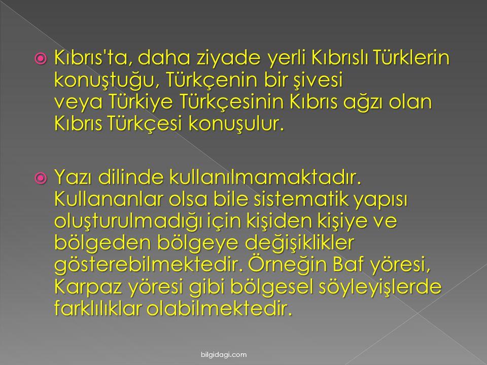  Kıbrıs'ta, daha ziyade yerli Kıbrıslı Türklerin konuştuğu, Türkçenin bir şivesi veya Türkiye Türkçesinin Kıbrıs ağzı olan Kıbrıs Türkçesi konuşulur.