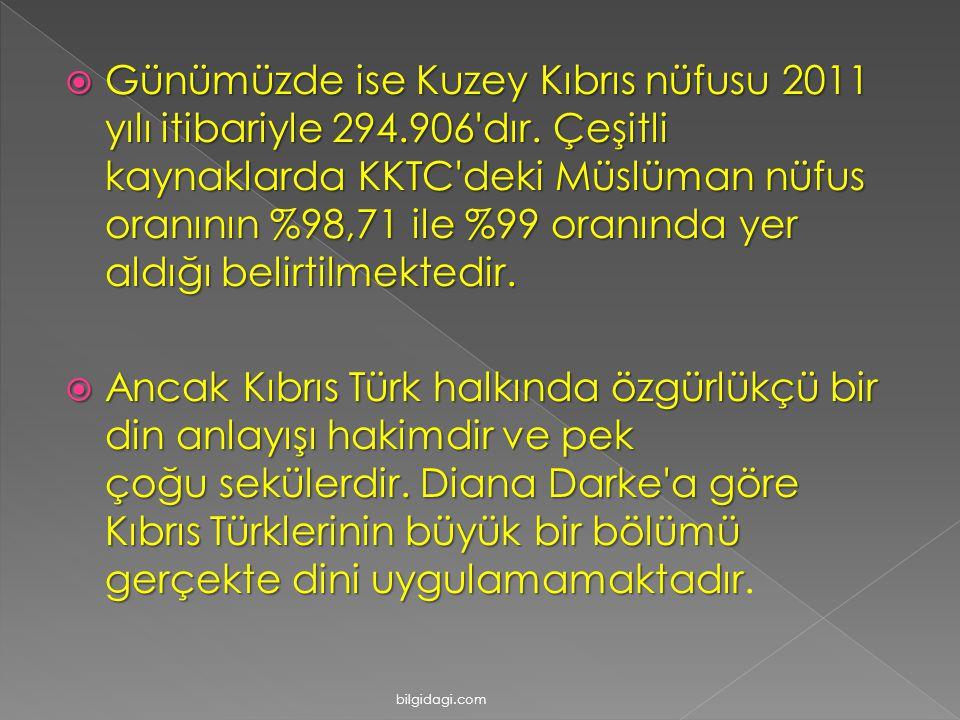 GGGGünümüzde ise Kuzey Kıbrıs nüfusu 2011 yılı itibariyle 294.906'dır. Çeşitli kaynaklarda KKTC'deki Müslüman nüfus oranının %98,71 ile %99 oranın