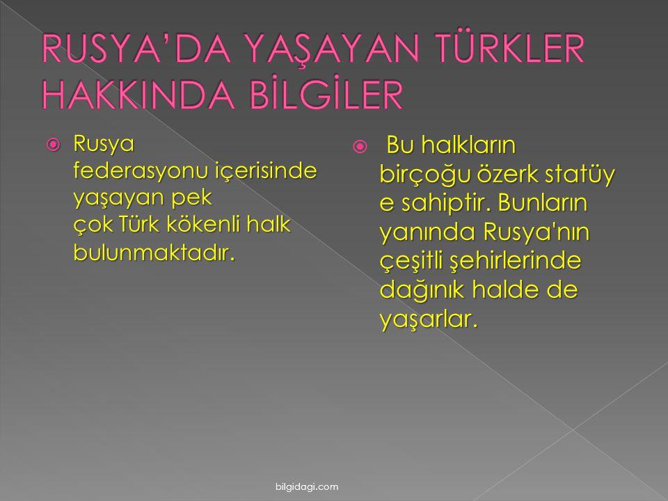 RRRRusya federasyonu içerisinde yaşayan pek çok Türk kökenli halk bulunmaktadır.  Bu halkların birçoğu özerk statüy e sahiptir. Bunların yanında