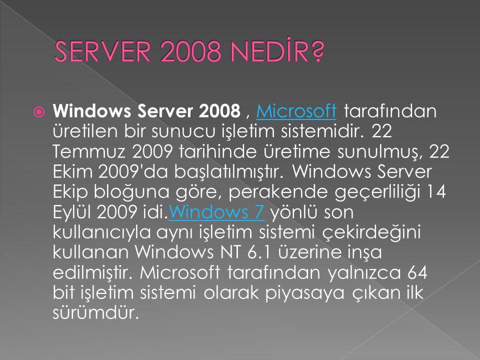  Windows Server 2008, Microsoft tarafından üretilen bir sunucu işletim sistemidir. 22 Temmuz 2009 tarihinde üretime sunulmuş, 22 Ekim 2009'da başlatı