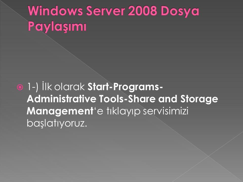  1-) İlk olarak Start-Programs- Administrative Tools-Share and Storage Management 'e tıklayıp servisimizi başlatıyoruz.