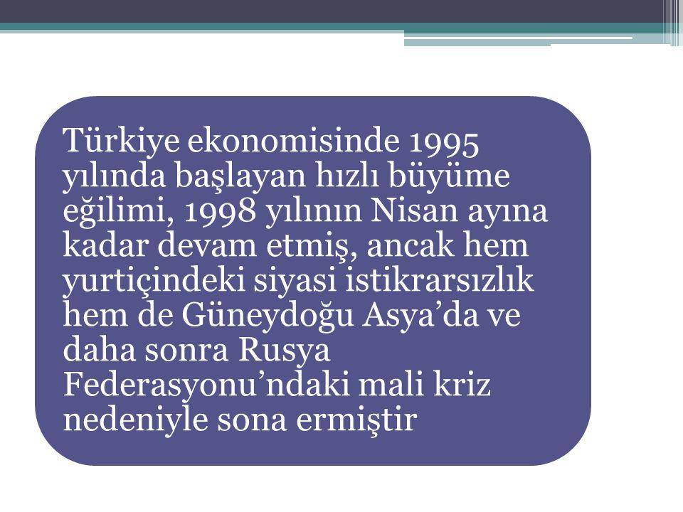 Türkiye ekonomisinde 1995 yılında başlayan hızlı büyüme eğilimi, 1998 yılının Nisan ayına kadar devam etmiş, ancak hem yurtiçindeki siyasi istikrarsız