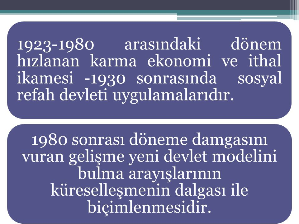 1923-1946 Dönemi Devlet işletmeciliği ve müdahalelerinin asgari düzeyde tutulduğu ve piyasa şartlarında sanayileşmenin benimsendiği yıllar İzmir İktisat Kongresi:Çağdaş uygarlık seviyesine ulaşmada Batının birtakım kurum ve kuralları alınarak en kısa zamanda iktisadi ve toplumsal gelişmeye ulaşılması istenmesi.