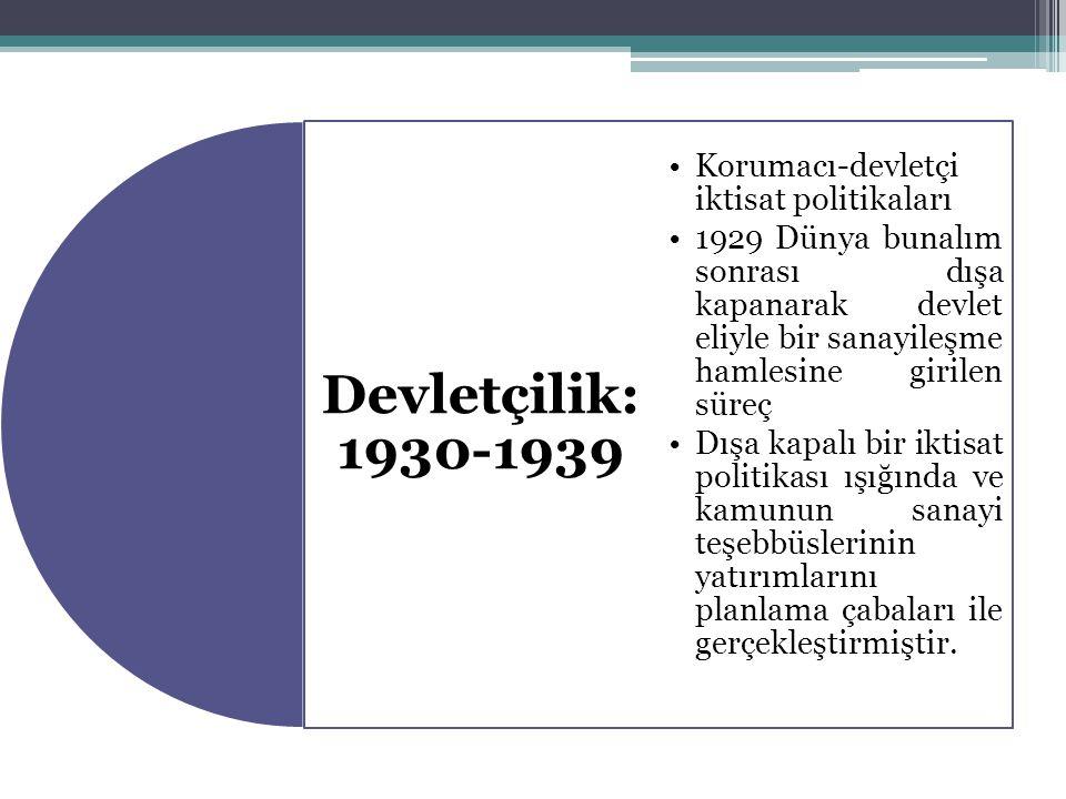 Devletçilik: 1930-1939 Korumacı-devletçi iktisat politikaları 1929 Dünya bunalım sonrası dışa kapanarak devlet eliyle bir sanayileşme hamlesine girile