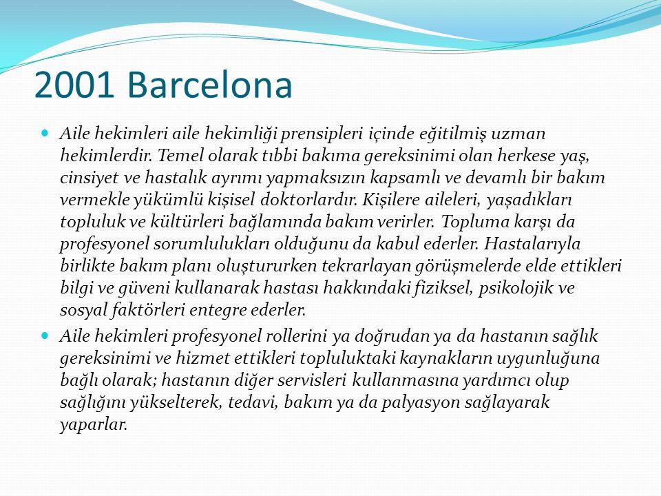 2001 Barcelona Aile hekimleri aile hekimliği prensipleri içinde eğitilmiş uzman hekimlerdir. Temel olarak tıbbi bakıma gereksinimi olan herkese yaş, c