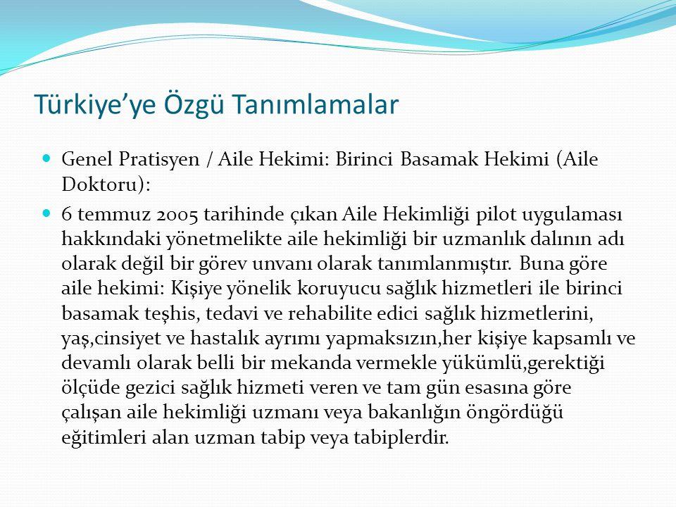 Türkiye'ye Özgü Tanımlamalar Genel Pratisyen / Aile Hekimi: Birinci Basamak Hekimi (Aile Doktoru): 6 temmuz 2005 tarihinde çıkan Aile Hekimliği pilot
