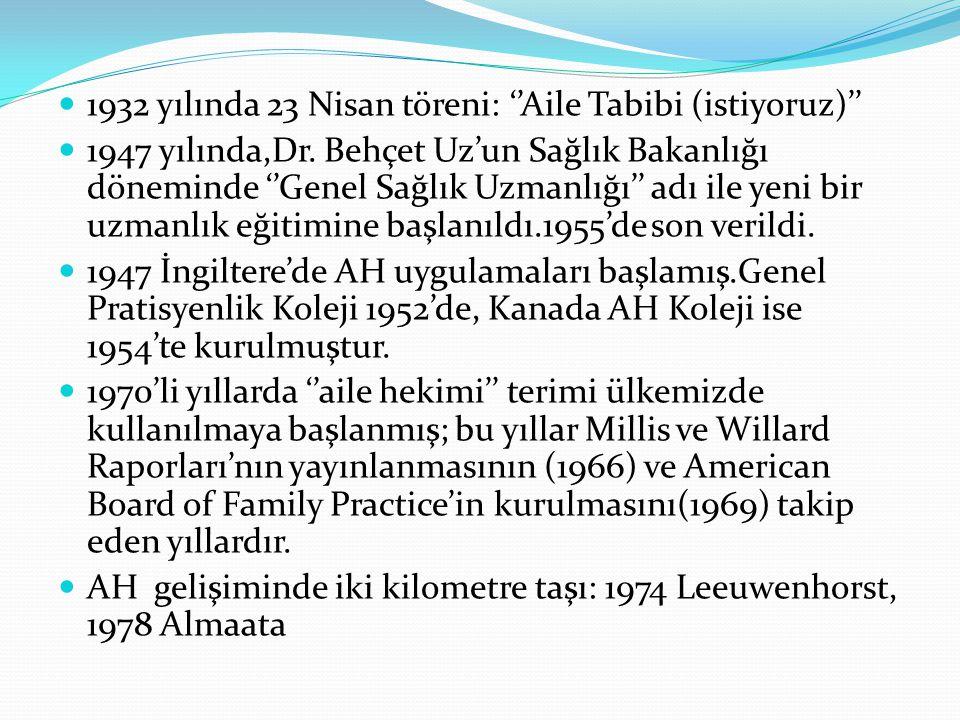 1932 yılında 23 Nisan töreni: ''Aile Tabibi (istiyoruz)'' 1947 yılında,Dr. Behçet Uz'un Sağlık Bakanlığı döneminde ''Genel Sağlık Uzmanlığı'' adı ile