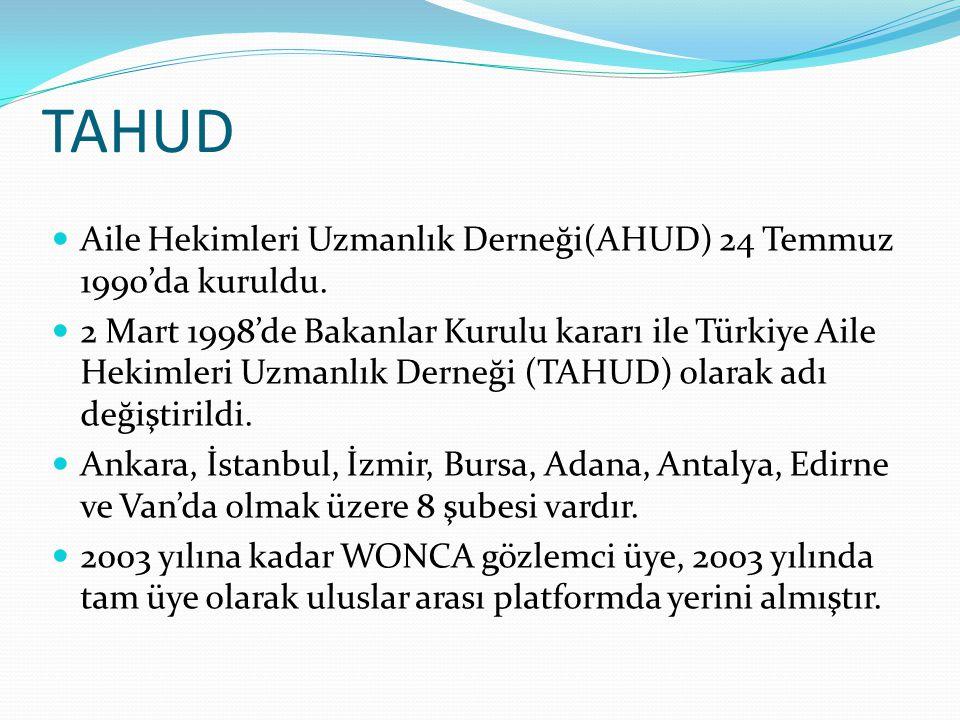 TAHUD Aile Hekimleri Uzmanlık Derneği(AHUD) 24 Temmuz 1990'da kuruldu. 2 Mart 1998'de Bakanlar Kurulu kararı ile Türkiye Aile Hekimleri Uzmanlık Derne