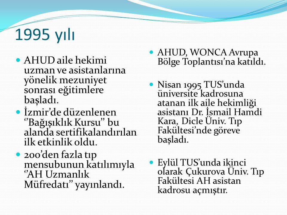1995 yılı AHUD aile hekimi uzman ve asistanlarına yönelik mezuniyet sonrası eğitimlere başladı. İzmir'de düzenlenen ''Bağışıklık Kursu'' bu alanda ser