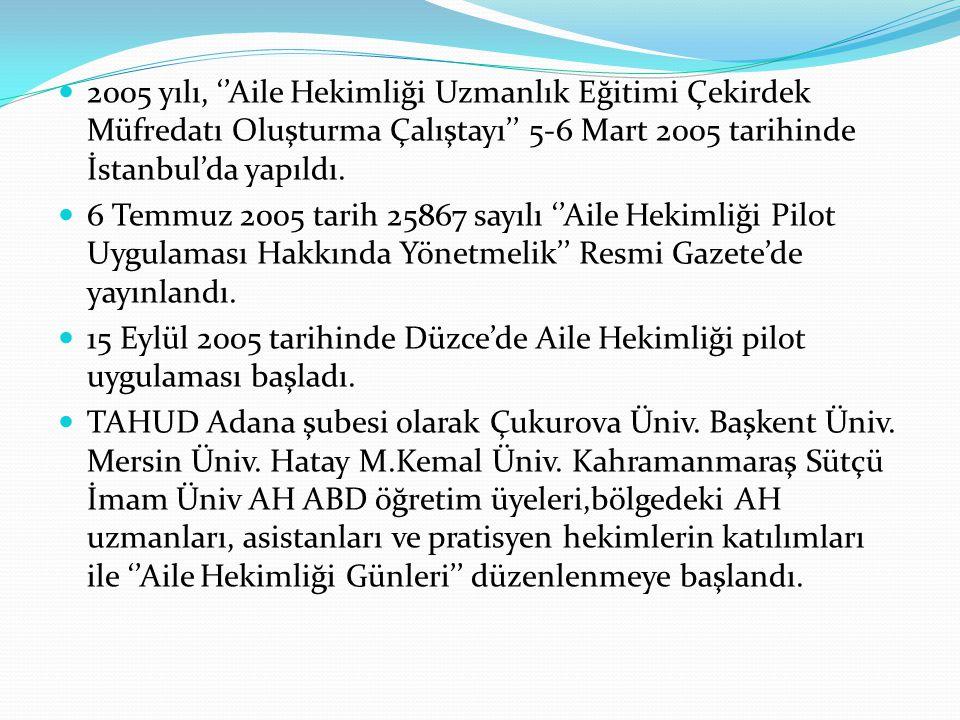 2005 yılı, ''Aile Hekimliği Uzmanlık Eğitimi Çekirdek Müfredatı Oluşturma Çalıştayı'' 5-6 Mart 2005 tarihinde İstanbul'da yapıldı. 6 Temmuz 2005 tarih