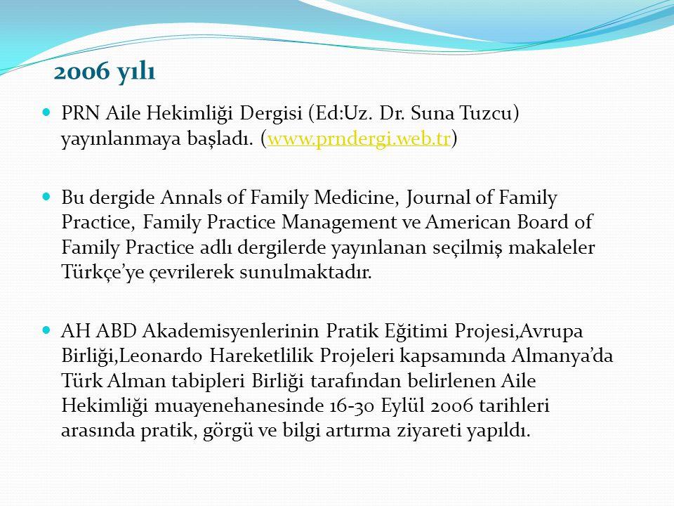 2006 yılı PRN Aile Hekimliği Dergisi (Ed:Uz. Dr. Suna Tuzcu) yayınlanmaya başladı. (www.prndergi.web.tr)www.prndergi.web.tr Bu dergide Annals of Famil