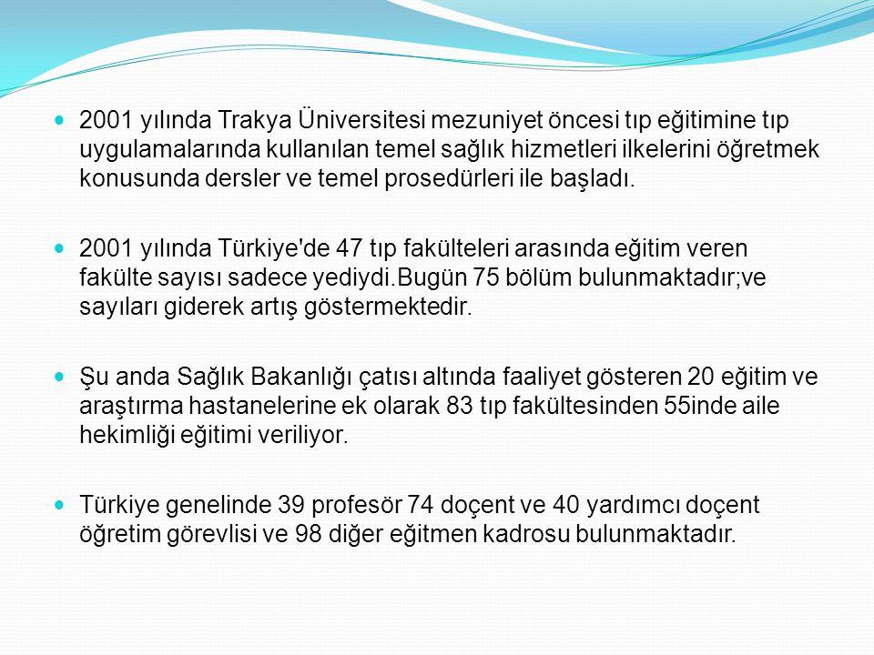 2001 yılında Trakya Üniversitesi mezuniyet öncesi tıp eğitimine tıp uygulamalarında kullanılan temel sağlık hizmetleri ilkelerini öğretmek konusunda d