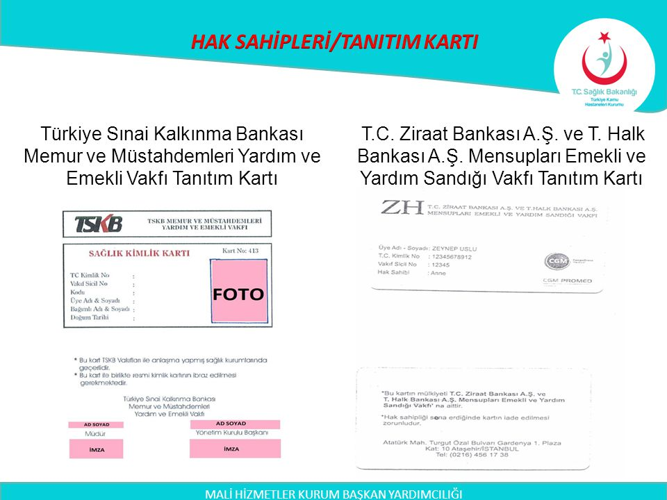 MALİ HİZMETLER KURUM BAŞKAN YARDIMCILIĞI Türkiye Sınai Kalkınma Bankası Memur ve Müstahdemleri Yardım ve Emekli Vakfı Tanıtım Kartı T.C. Ziraat Bankas